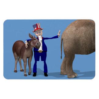 El tío Sam ama el burro Imán Rectangular