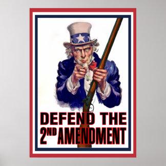 El tío Sam dice - defienda la 2da enmienda Póster