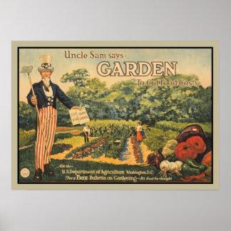 El tío Sam dice: jardín para cortar costes de la Póster