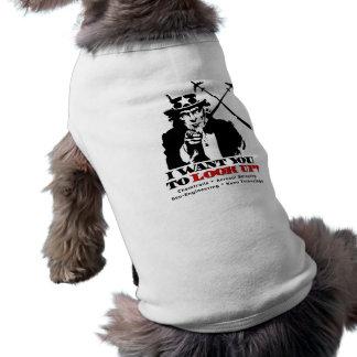 El tío Sam dice quisiera que usted mirara para arr Playera Sin Mangas Para Perro