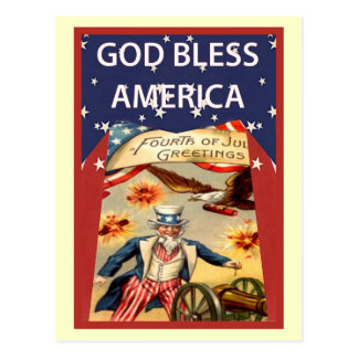 El tío Sam, dios bendice América Postal