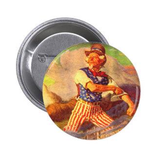 el tío Sam heroico de los años 40 arremanga sus Pin Redondo 5 Cm