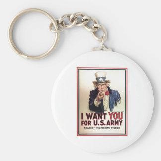 El tío Sam I le quiere para el Ejército del EE. UU Llavero Redondo Tipo Pin