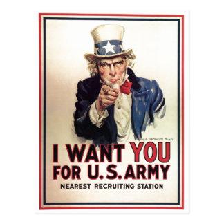 El tío Sam I le quiere para el Ejército del EE. UU Tarjetas Postales