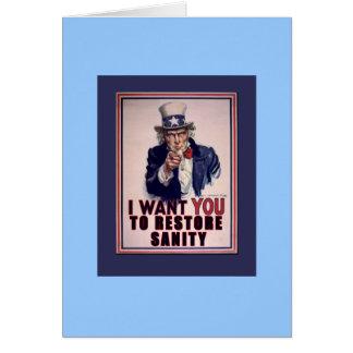 El tío Sam I quisiera que usted restaurara las cam Tarjeta De Felicitación