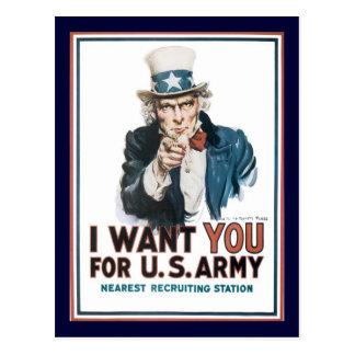 El tío Sam le quiere la guerra mundial 2 Tarjeta Postal