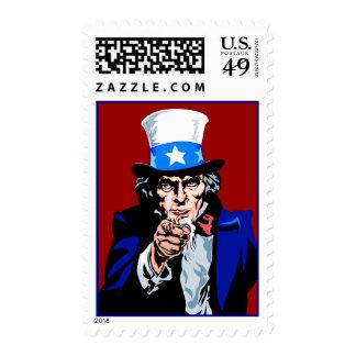 El tío Sam le quiere patriótico azul blanco rojo Sellos