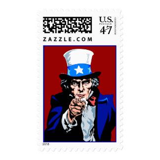 El tío Sam le quiere patriótico azul blanco rojo Timbres Postales