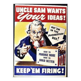 """El tío Sam quiere sus ideas, las guarda leña Folleto 8.5"""" X 11"""""""