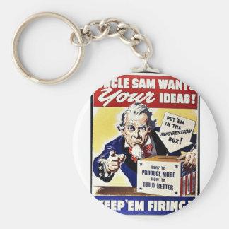 El tío Sam quiere sus ideas, las guarda leña Llaveros Personalizados
