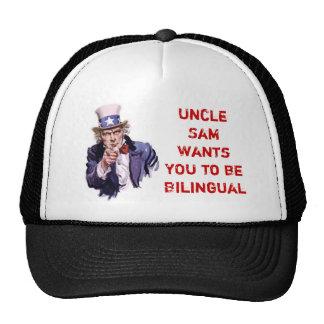 El tío Sam quisiera que USTED fuera bilingüe Gorras