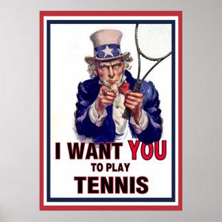 ¡El tío Sam quisiera que usted jugara a tenis! Impresiones