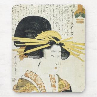 El tipo remilgado arte japonés de Utamaro imprime  Tapetes De Ratones