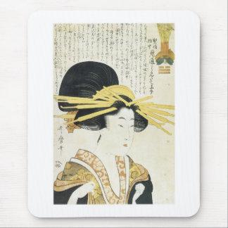 El tipo remilgado arte japonés de Utamaro imprime Alfombrilla De Ratón