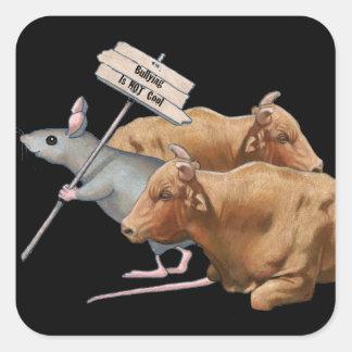El tiranizar no es fresco: Toros, ratón: Arte orig Calcomanía Cuadradas Personalizadas