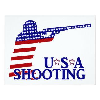 """El tirar de los E.E.U.U. (rifle blanco y azul Invitación 4.25"""" X 5.5"""""""