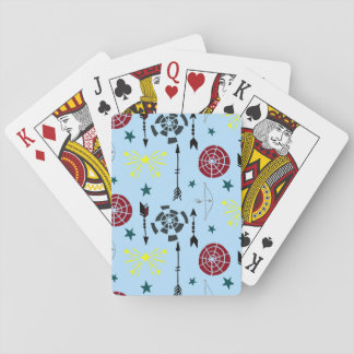 El tiro al arco azul arquea flechas y blancos barajas de cartas