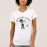 El tiro al arco de las mujeres oscuras en azul camiseta