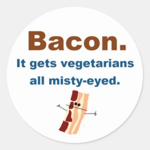 El tocino consigue vegetarianos sentimentales pegatina redonda