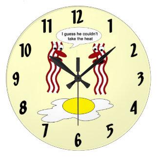 El tocino y el huevo no podían colocar el calor reloj redondo grande