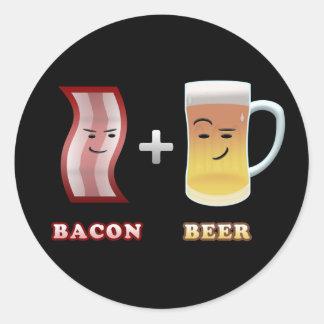 El tocino y la cerveza están hasta algo (el bkgd pegatina redonda