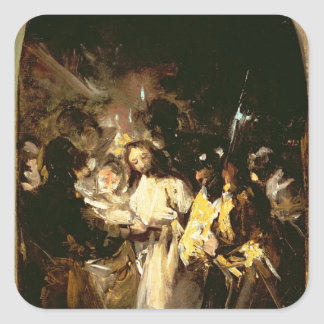 El tomar de Cristo, c.1798 Pegatina Cuadrada