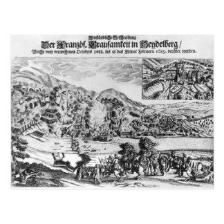 El tomar y la destrucción de Heidelberg cerca Tarjetas Postales