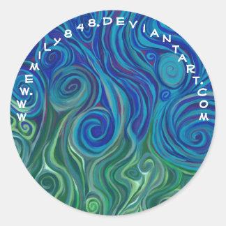 El torcer en espiral ascendente a pesar de azul pegatina redonda