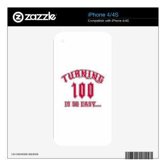 El torneado de 100 es cumpleaños tan fácil iPhone 4S calcomanía