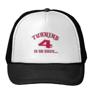 El torneado de 4 es cumpleaños tan fácil gorras de camionero