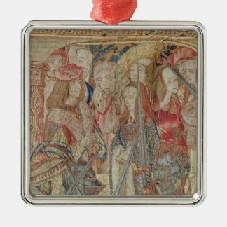 El torneo, tapicería vertical del telar adorno cuadrado plateado