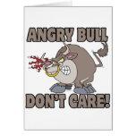 el toro enojado no cuida la parodia divertida del tarjeta de felicitación