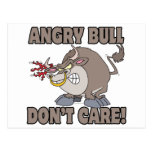 el toro enojado no cuida la parodia divertida del postal