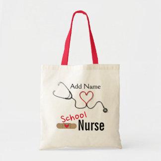 El tote de la enfermera conocida de encargo de la bolsa tela barata