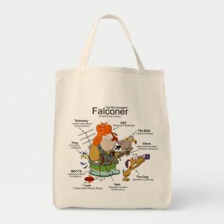 El tote del dibujo animado del halconero bolsa tela para la compra