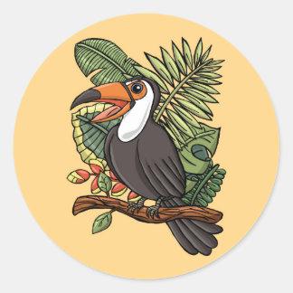 El Toucan feliz Pegatina Redonda