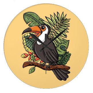 El Toucan feliz Reloj Redondo Grande