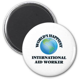 El trabajador de la ayuda internacional más feliz imán redondo 5 cm