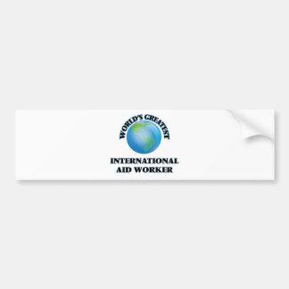 El trabajador de la ayuda internacional más grande pegatina para coche