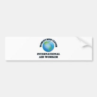 El trabajador de la ayuda internacional más listo pegatina para coche