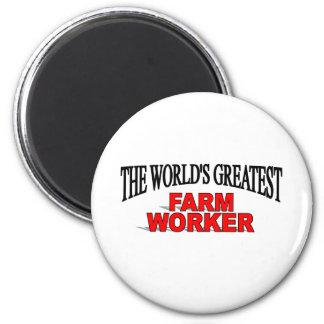 El trabajador de la granja más grande del mundo imán redondo 5 cm