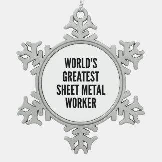 El trabajador más grande de la chapa de los mundos adorno de peltre en forma de copo de nieve