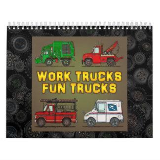 El trabajo acarrea los camiones de la diversión calendarios