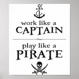 El trabajo como un capitán, juego tiene gusto de póster