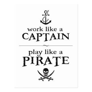 El trabajo como un capitán, juego tiene gusto de tarjetas postales