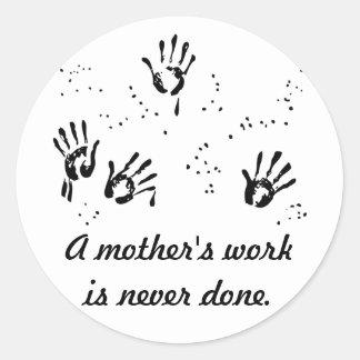El trabajo de la madre etiquetas redondas