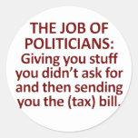 El trabajo de políticos etiqueta redonda