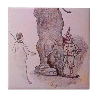 El trabajo de un elefante azulejo cuadrado pequeño