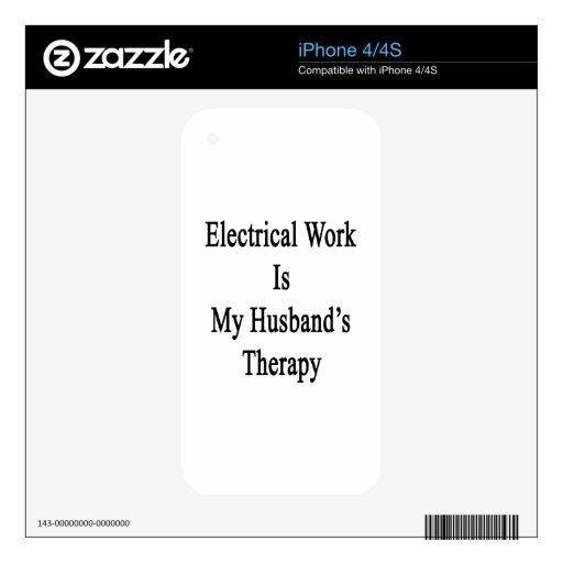 El trabajo eléctrico es la terapia de mi marido calcomanías para iPhone 4