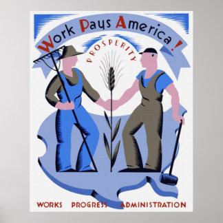 El trabajo paga el poster de América